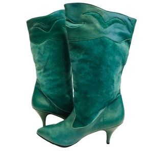 Vintage Shoes | Vtg 8s Teal Leather And